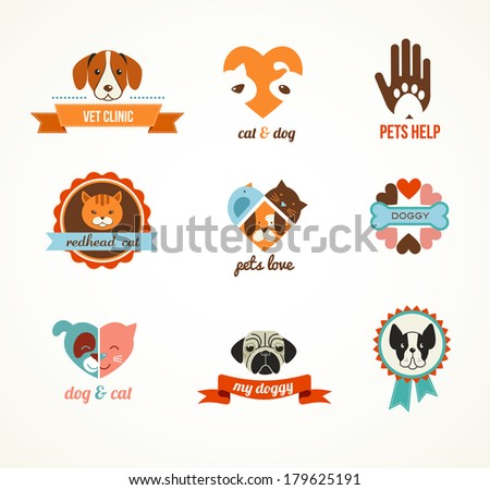 Pets vector icons - cats and dogs - stock vector