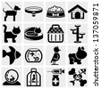 Pets vector icons set. - stock vector