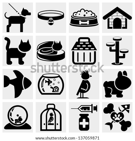 Pets vector icons set.