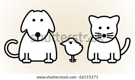 Pets, vector illustration - stock vector