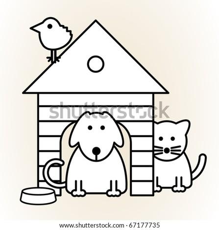 Pets, vector illustration - stock vector