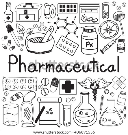pharmaceutical and pharmacist doodle handwriting icons of medicines tools sign and symbol in white isolated paper background for health presentation or subject title. vector  - stock vector