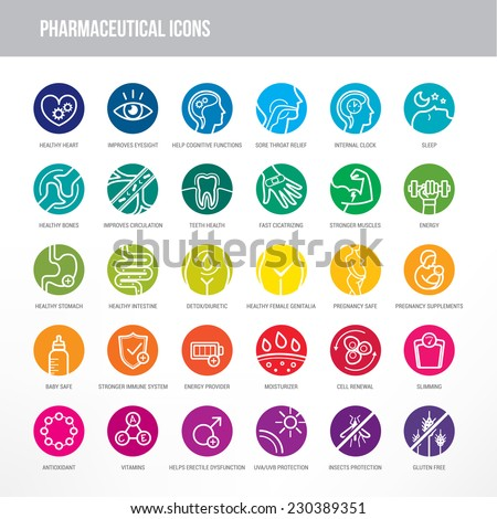 Pharmaceutical medical icons set for medical packaging on organs and body health. - stock vector