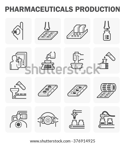 Pharmaceutical production vector icon sets design. - stock vector