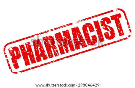 PHARMACIST red stamp text on white - stock vector