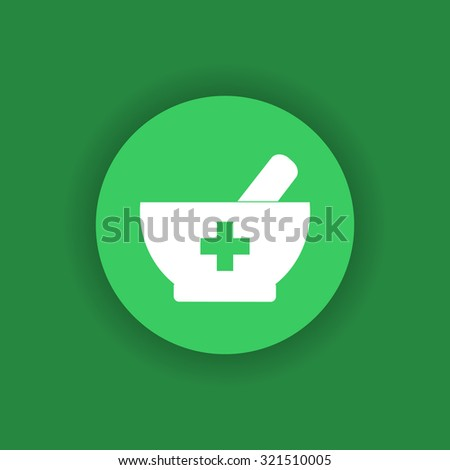 Pharmacy aid design - mortar and pestle with cross. Pharmacy and medicine. Medical icon on green background. Pharmacy symbol. - stock vector