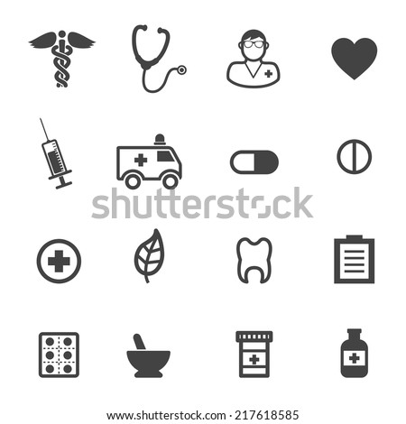 pharmacy and medical icons, mono vector symbols - stock vector