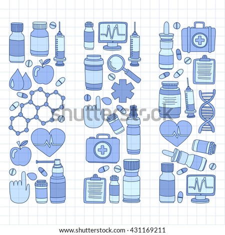 Pharmacy and medicine doodle vector pictures
