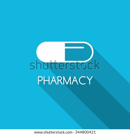 Pharmacy design background. White capsule on blue background. Line capsule icon. Pharmacy symbol. Flat style design with capsule. - stock vector