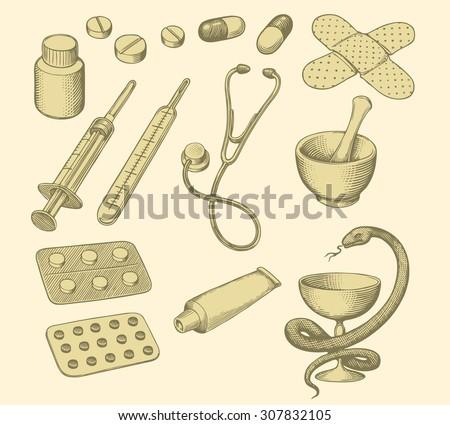 Pharmacy. Design set. Hand drawn engraving. Vector illustration. 8 EPS - stock vector