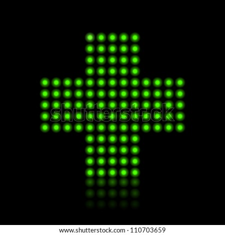 Pharmacy neon bulbs green cross with reflection medical insurance concept illustration