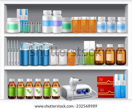 Pharmacy shelves with medicine pills bottles liquids and capsules realistic vector illustration - stock vector