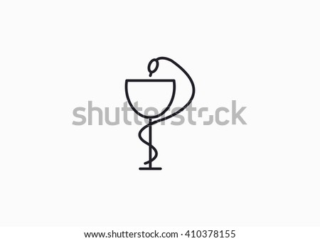 Pharmacy symbol medical snake and cup - stock vector