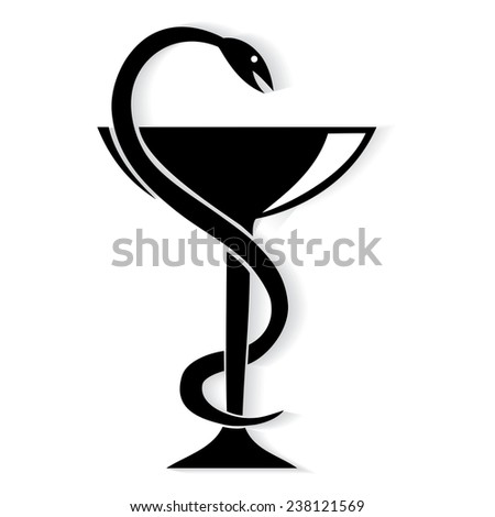 Pharmacy symbol medical snake and cup. Vector emblem for drugstore or medicine . - stock vector