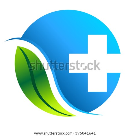 pharmacy symbol with leaf - vector icon