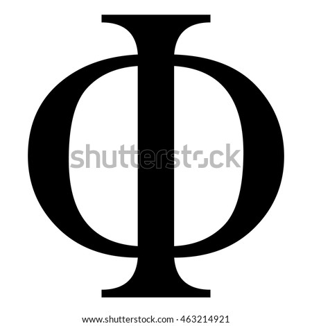 Phi Greek Letter Icon Black Isolated Stock Vector Royalty Free