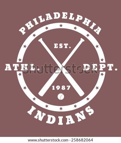 Philadelphia Athletic Dept Vintage T Shirt Design With Crossed Baseball Bats Vector Illustration
