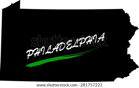 Philadelphia map vector in black and white background, Philadelphia map outlines in a new design - stock vector