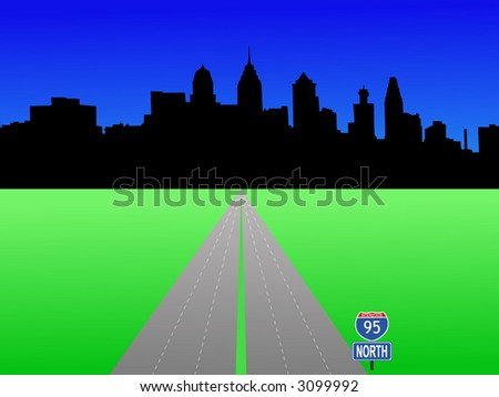 Philadelphia Pennsylvania skyline and interstate 95