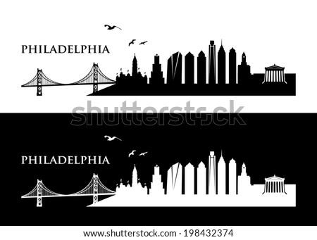 philadelphia skyline vector illustration stock vector 198432374 rh shutterstock com Philadelphia Skyline Clip Art Philadelphia Skyline Night