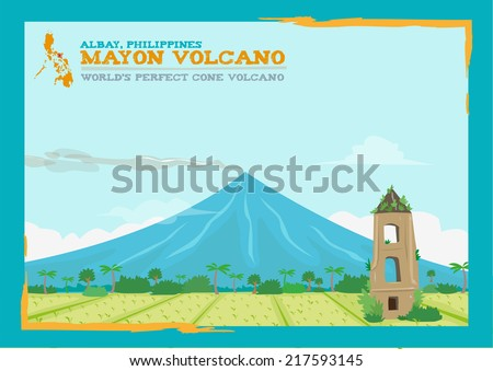 Philippine's Perfect Coned-Shape Mayon Volcano with Casagwa Church Ruins. Flat vector. - stock vector