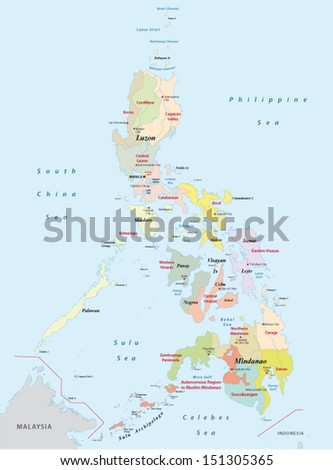 philippines administrative map - stock vector