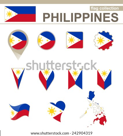 Philippines Flag Collection, 12 versions - stock vector