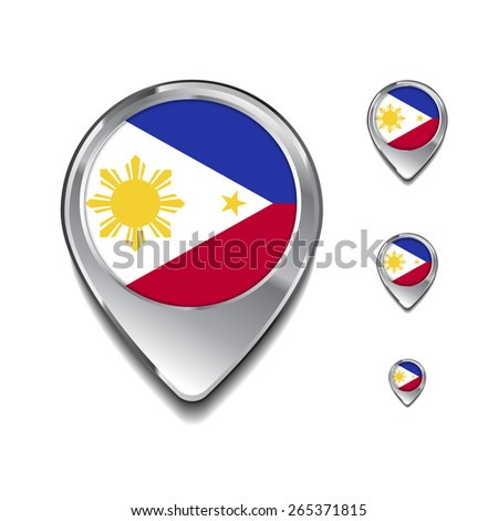 Philippines flag map pointer. 3d Map Pointer with flag glossy button style on gray background - stock vector