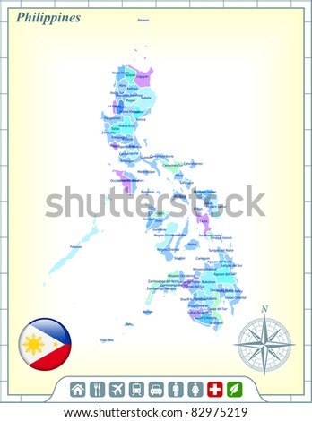 Philippines Map with Flag Buttons and Assistance & Activates Icons Original Illustration - stock vector