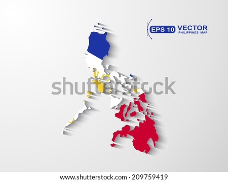 Philippines map with shadow effect  - stock vector