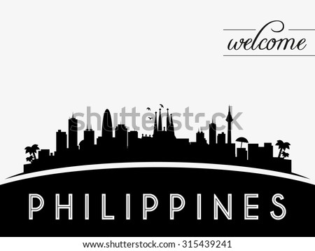 Philippines skyline silhouette, black and white design, vector illustration