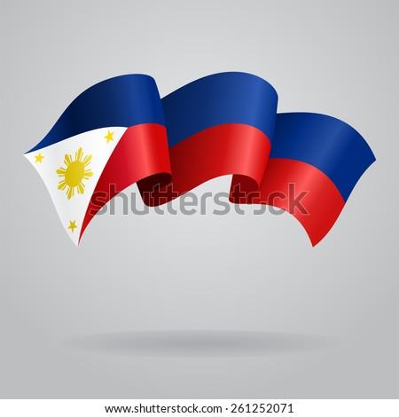 Philippines waving Flag. Vector illustration Eps 8. - stock vector