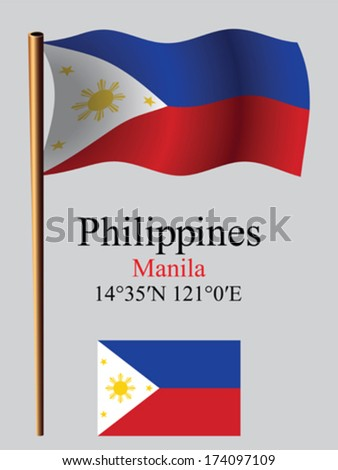 phillippines wavy flag and coordinates against gray background, vector art illustration, image contains transparency