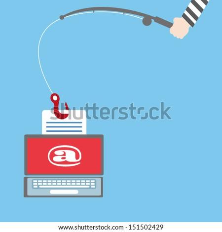 Phishing,Vector cartoon business - stock vector