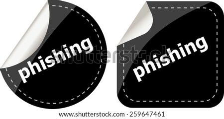 phishing word with lock on black stickers set - stock vector