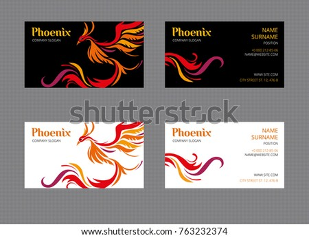 Phoenix bird set twosided business cards stock vector hd royalty phoenix bird set of two sided business cards templates on white and black background colourmoves