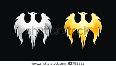 Phoenix bird wings silver and gold (vector) - stock vector