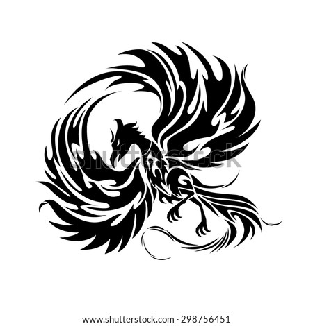 Phoenix black and white graphic/Tattoo drawing/Tribal pattern vector art/Engraving wings illustration - stock vector