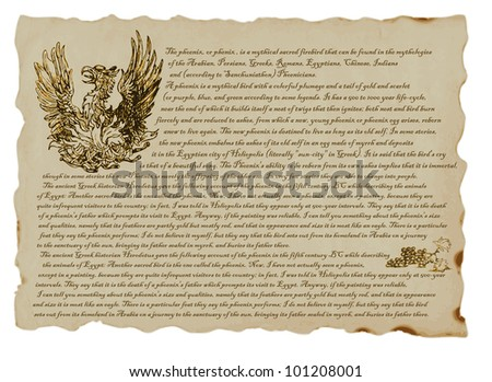 PHOENIX. Clever pictures by Greek, Roman and Egyptian myths. Hand drawing. (Text in English language.) - stock vector