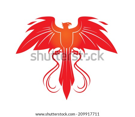 Phoenix with whips - stock vector