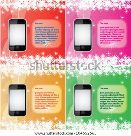 phone and color abstract background vector set - stock vector