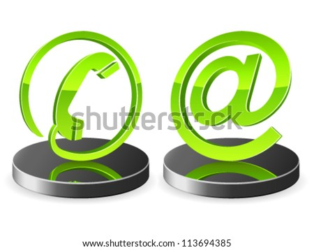 phone and e-mail icons - vector illustration - stock vector