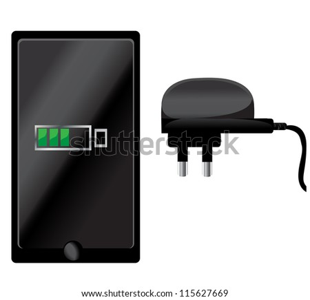 Phone and Mobile charger - stock vector