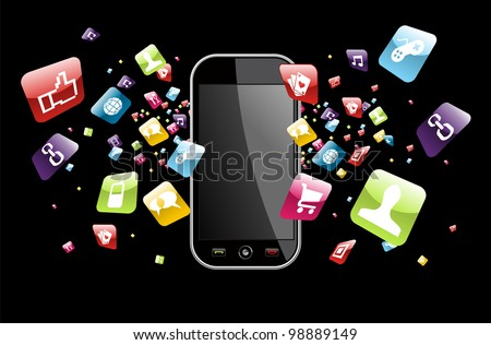 Phone application icons splash out of phone on black background. Vector file layered for easy manipulation and customisation. - stock vector