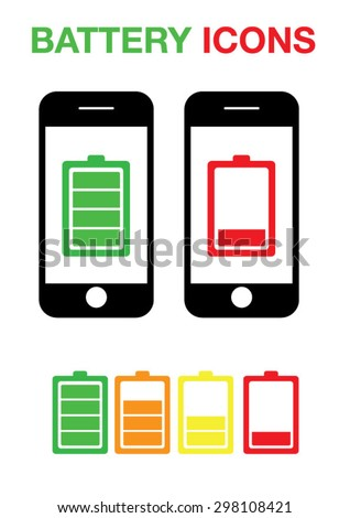 Phone Battery Icons Set Vector  - stock vector