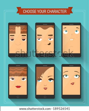 Phone boy and girl characters. Vector illustration - stock vector