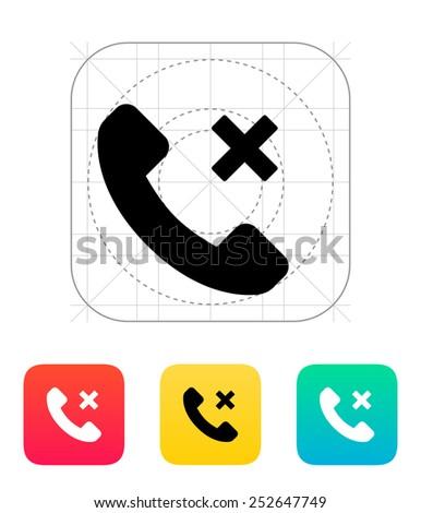 Phone call cancel icon. Vector illustration. - stock vector