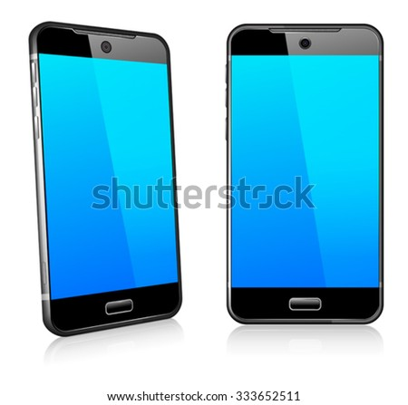 Phone Cell Smart Mobile 3D and 2D - stock vector