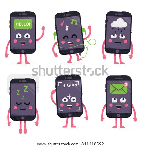 Phone character set - stock vector