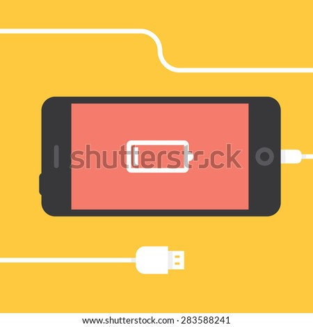 Phone charging, flat icon isolated on a yellow. Concept background design - stock vector